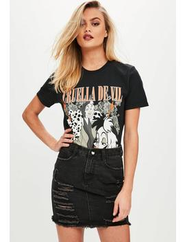 Black Cruella De Vil Graphic T Shirt by Missguided