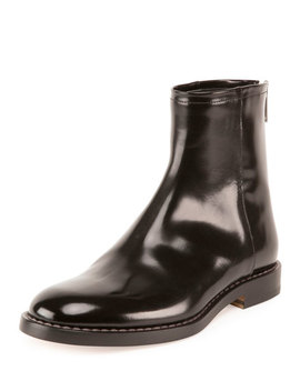 Leather Back Zip Ankle Boot, Black by Maison Margiela
