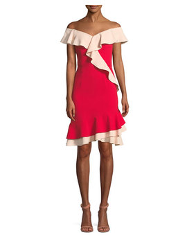 Off The Shoulder Flounce Trim Crepe Cocktail Dress by Aidan By Aidan Mattox