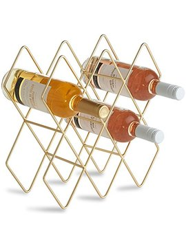 Von Shef 8 Wine Bottle Wine Rack, Freestanding Holder, Shelves, Countertop Storage – Metal Brushed Gold And Geometric Design For Red And White Wine by Von Shef