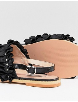 Lost Ink Black Ruffle Pearl Detail Sandals by Lost Ink.