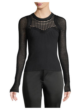 Round Neck Textured Crochet Knit Top by Narciso Rodriguez