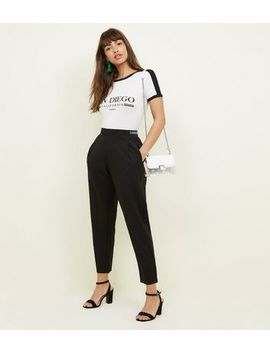 Black Stripe Waistband Tapered Trousers by New Look