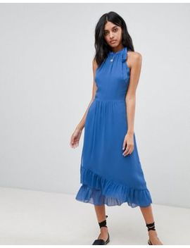 Warehouse Frill Detail Halter Maxi Dress by Warehouse