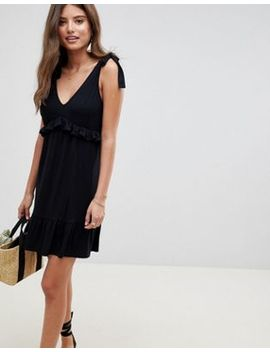 Asos Design Tie Strap Sundress With Pep Hem by Asos Design