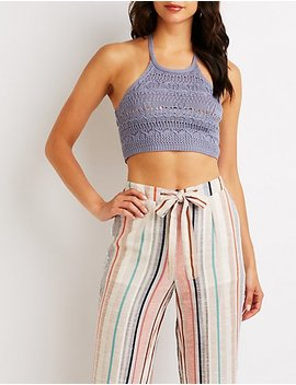 Crochet Bib Neck Halter Top by Charlotte Russe