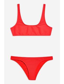 Ribbed Crop Bikini Set by Topshop