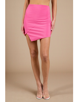 Miss Me Pink Asymmetric Mini Skirt by Tobi