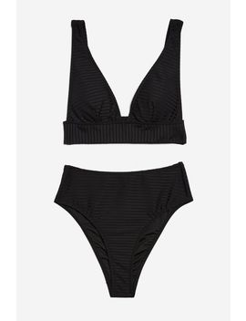 Wide Ribbed Bikini Set by Topshop