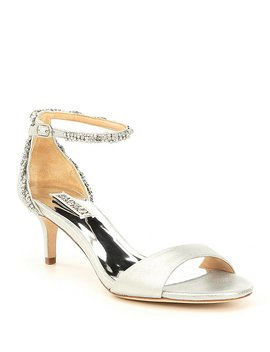 Yareli Rhinestone Jeweled Metallic Suede Dress Sandals by Badgley Mischka