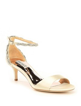 Yareli Rhinestone Jeweled Satin Dress Sandals by Badgley Mischka