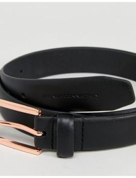 French Connection Black Belt With Rose Gold Buckle by French Connection
