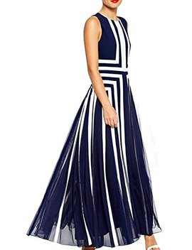 Hendeo Women's Stripe Gauze Splicing Gown Maxi Navy Blue by Hendeo Dresses