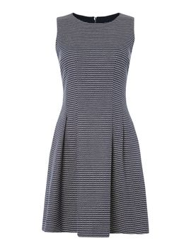Sleeveless Dobby Pattern Dress In Fantasia Blu by Armani Jeans