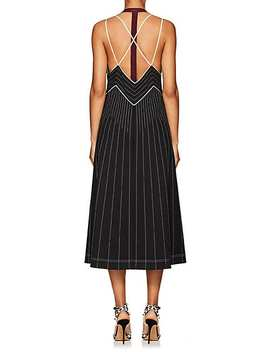 Striped Tech Jersey Halter Midi Dress by Valentino