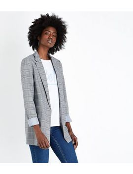 Tall Grey Check Longline Blazer by New Look