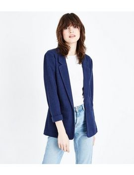 Navy Cross Hatch Blazer by New Look