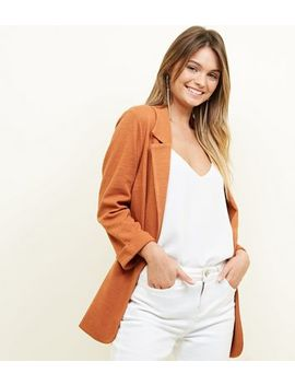 Rust Cross Hatch Stretch Blazer by New Look
