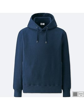 Men Uniqlo U 100% Cotton Long Sleeve Hooded Sweatshirt by Uniqlo