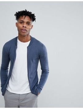 Asos Design Knitted Muscle Fit Bomber Jacket In Blue by Asos Design