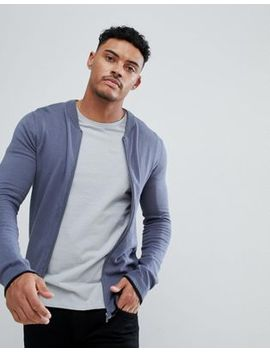 Asos Knitted Bomber Jacket In Denim Blue With Rib Tipping by Asos
