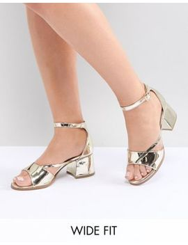 Lost Ink Wide Fit Rose Gold Block Heeled Sandals by Lost Ink. Wide Fit