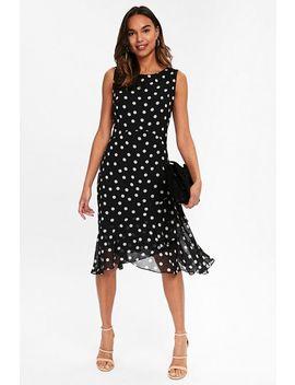 Black Polka Dot Ruffle Shift Dress by Wallis