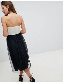 Asos Design Colourblock Tulle Bandeau Midi Dress by Asos Design