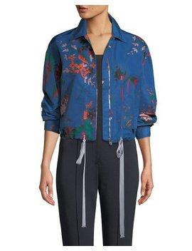 Zip Front Floral Print Bomber Jacket by Diane Von Furstenberg