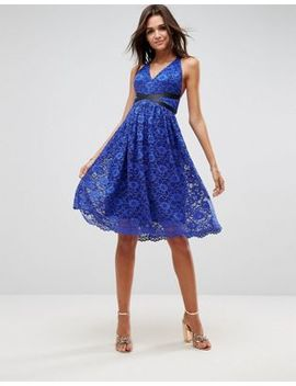 Asos Lace Prom Midi Dress With Ribbon Ties by Asos Collection