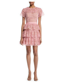 Tiered Lace Scalloped Mini Cocktail Dress by Self Portrait