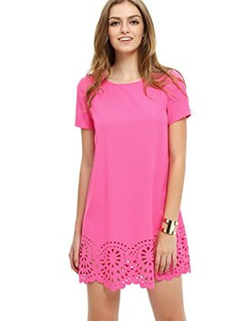 She In Women's Crew Neck Short Sleeve Hollow Shift Dress by She In