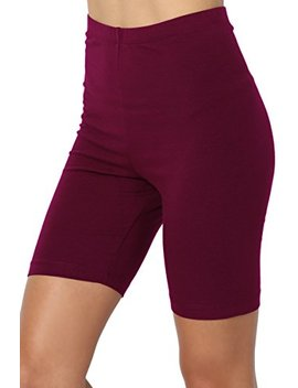 The Mogan Mid Thigh Stretch Cotton Span High Waist Active Bermuda Short Leggings by The Mogan
