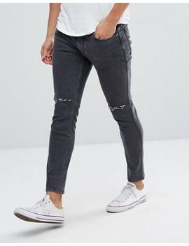 Mango Man Skinny Jeans With Rips In Washed Black by Mango