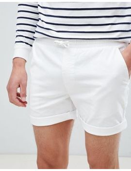 River Island Slim Fit Pull On Shorts In White by River Island