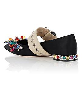 Crystal Embellished Satin Flats by Miu Miu