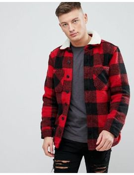Pull&Bear Checked Sherpa Overshirt In Red by Pull&Bear