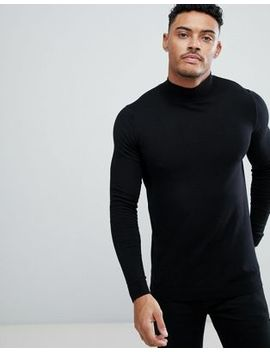 Asos Cotton Turtleneck Sweater In Black by Asos