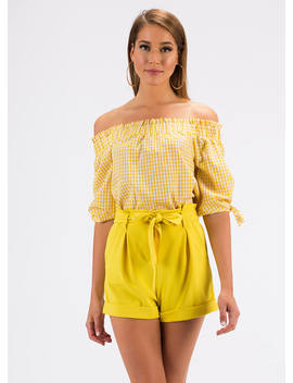 Going For The Gingham Off Shoulder Top by Go Jane