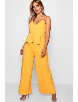 Plus Heidi Strappy Peplum Jumpsuit by Boohoo