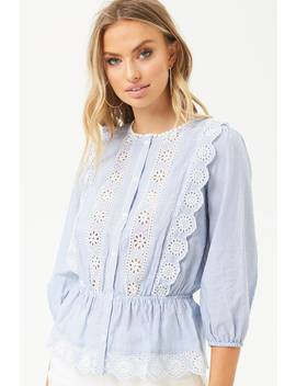 Eyelet Trim Pinstriped Shirt by Forever 21