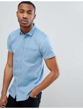 New Look Regular Fit Short Sleeve Denim Shirt In Light Blue Wash by New Look