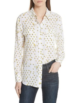 Signature Tennis Ball Silk Blouse by Equipment