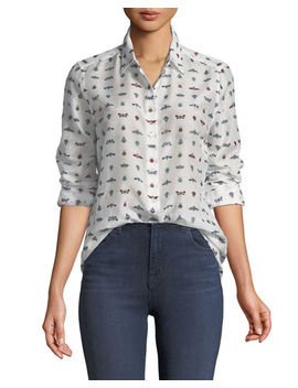 Essentials Insect Print Cotton/Silk Shirt by Equipment