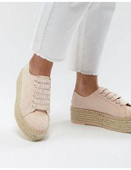 Bershka Flatform Espadrille Sneakers In Pink by Bershka