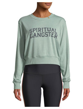 Varsity Cropped Graphic Pullover Sweatshirt by Spiritual Gangster