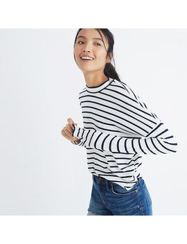 Pre Order Long Sleeve Mockneck Top In Stripe by Madewell