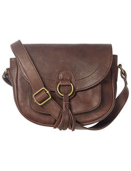 Fat Face Sienna Leather Tassel Saddle Bag, Chocolate by Fat Face