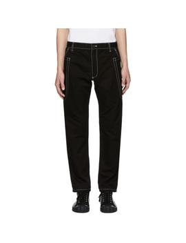black-contrast-stitch-skinny-trousers by comme-des-garÇons-shirt
