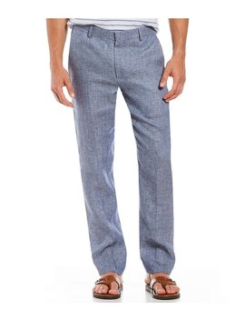 Alex Solid Slim Fit Casual Flat Front Linen Pants by Murano